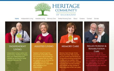 Screenshot of Home Page heritagecommunity.com - Independent and Assisted Living, Memory Care | Heritage Community - captured June 20, 2016