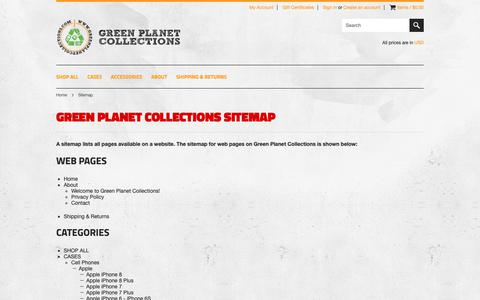 Screenshot of Site Map Page greenplanetcollections.com - Sitemap - captured Nov. 12, 2018