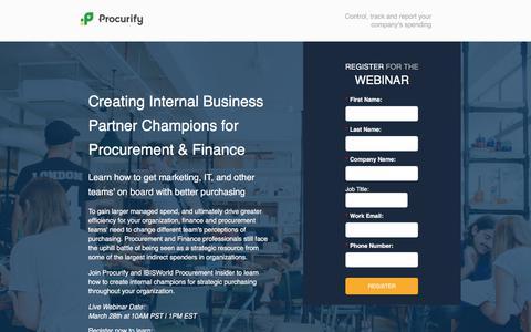 Screenshot of Landing Page procurify.com - Creating Internal Business Partner Champions for Procurement & Finance - captured March 29, 2018