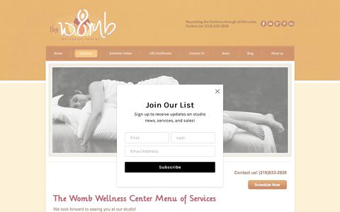 Screenshot of Services Page thewombwellnesscenter.com - Services - captured Sept. 21, 2018