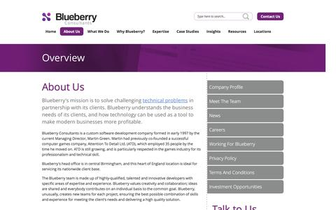 Screenshot of About Page bbconsult.co.uk - Custom Software Development UK - About Blueberry - captured Nov. 22, 2016