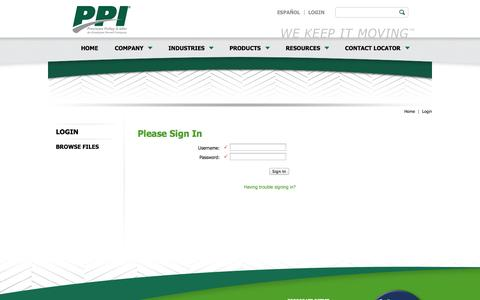 Screenshot of Login Page ppipella.com - Please Sign In | Precision, Inc. - captured Oct. 2, 2014