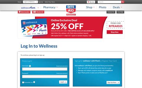 Screenshot of Login Page riteaid.com - Log In or Register - captured Sept. 22, 2017