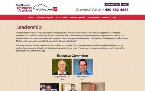 Screenshot of Team Page thevalleyleader.com - Leadership  |  Scottsdale Emergency Associates - captured Oct. 27, 2014