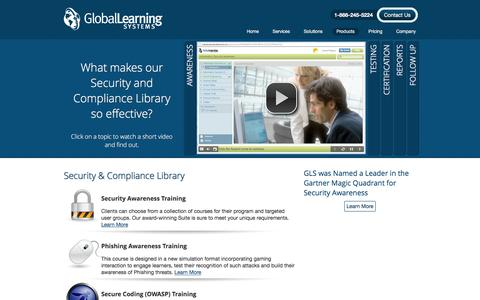 Screenshot of Products Page globallearningsystems.com - Online Training Courses for IT Security, Compliance & Ethics - Products - Global Learning Systems - captured July 14, 2016