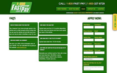 Screenshot of FAQ Page 1800fastpay.com - FAQ's - captured Sept. 26, 2014