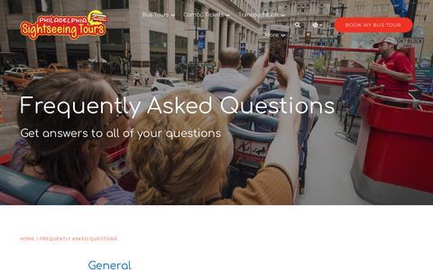 Screenshot of FAQ Page philadelphiasightseeingtours.com - FAQs | Philadelphia Sightseeing Tours - captured Dec. 14, 2018