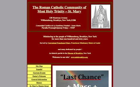 Screenshot of Home Page mhtbrooklyn.org - The Parish of Most Holy Trinity -- St. Mary, Brooklyn, New York - captured Oct. 9, 2015