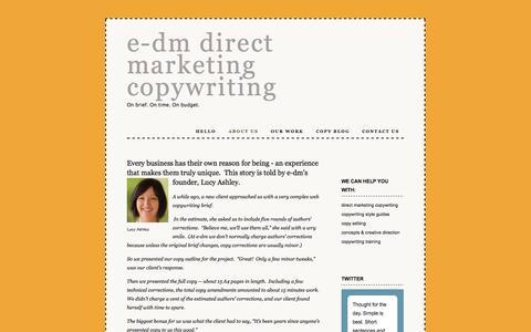 Screenshot of About Page e-dm.com.au - e-dm direct marketing copywriting Melbourne Sydney - About Us - captured Oct. 3, 2014