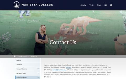 Screenshot of Contact Page marietta.edu - Contact Us | Marietta College - captured Sept. 6, 2016