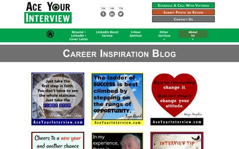 Screenshot of Blog aceyourinterview.com - Career Inspiration Blog • Ace Your Interview - captured Jan. 23, 2018