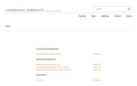 Screenshot of Jobs Page a16z.com - Jobs – Andreessen Horowitz - captured May 27, 2018
