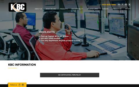 Screenshot of Home Page Login Page kbc.com.my - Kemaman Bitumen Company Sdn Bhd - captured Feb. 12, 2016