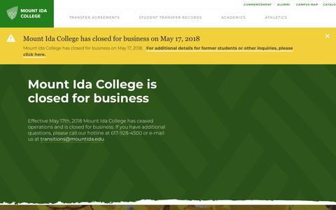 Screenshot of Contact Page mountida.edu - Contact Us - Mount Ida College - captured Sept. 22, 2018
