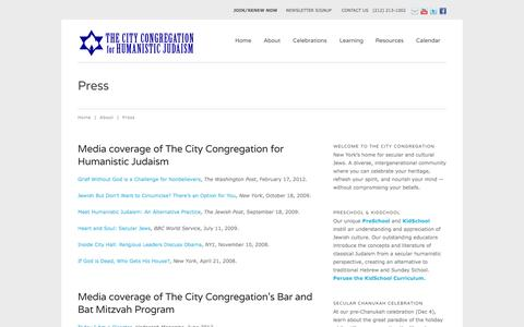 Screenshot of citycongregation.org - Press   The City Congregation for Humanistic Judaism - captured Oct. 5, 2015