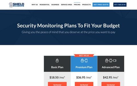 Screenshot of Pricing Page shield-security.com - SHIELD Security Monitoring Pricing - captured June 20, 2018