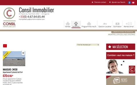 Screenshot of Locations Page consilimmobilier.com - Location Montpellier Antigone, location appartement Montpellier, agence immobilière Montpellier, Consil Immobilier, location Hérault 34 - captured Dec. 6, 2015