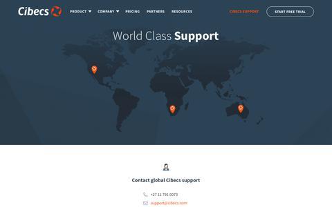 Screenshot of Support Page cibecs.com - Cibecs support team for technical assistance : Cibecs - captured Nov. 4, 2018