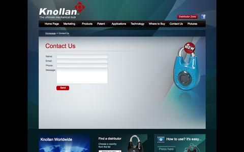 Screenshot of Contact Page knollan.com - Welcome to Knollan a new locking mechanism - captured Oct. 6, 2014