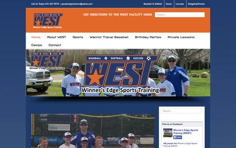 Screenshot of Home Page gowestsports.com - WEST Home- Child Sports Training - captured Sept. 30, 2014