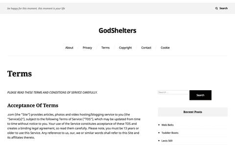 Screenshot of Terms Page godshelters.me - terms – GodShelters - captured Oct. 18, 2018