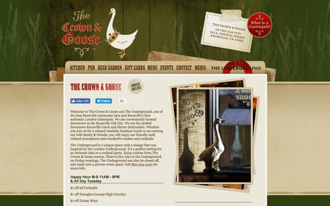 Screenshot of Home Page thecrownandgoose.com - The Crown & Goose | One of the Best Downtown Knoxville TN Restaurants & Bars for Fine Dining, Drinks - captured Sept. 20, 2018