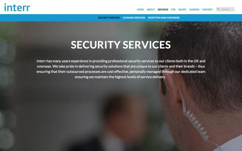 Screenshot of Services Page interr.com - Security Services | Interr - captured Feb. 11, 2016