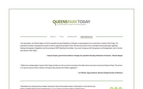Screenshot of Testimonials Page queensparktoday.ca - Testimonials — Queen's Park Today - captured July 18, 2016