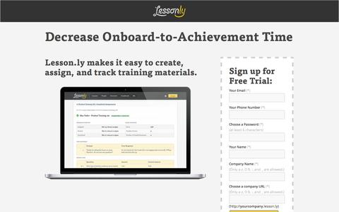 Screenshot of Landing Page lesson.ly - Online Onboarding Software - Lesson.ly - captured Oct. 27, 2014