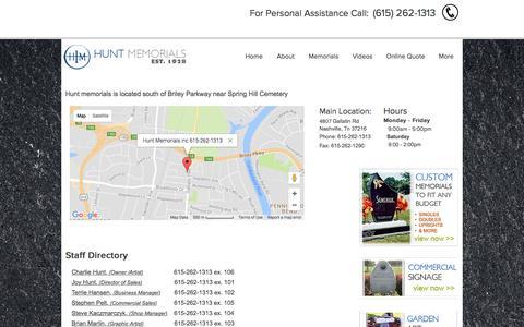 Screenshot of Contact Page huntmemorials.com - Hunt Memorials, Inc. - captured Sept. 19, 2017