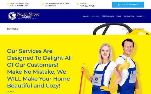 Screenshot of Services Page northshoremaids.com - Services – Welcome To North Shore Maids Of Massachusetts! - captured Sept. 21, 2018