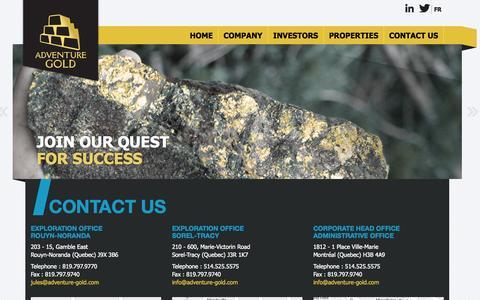 Screenshot of Contact Page adventure-gold.com - Contact us   Adventure Gold - captured Nov. 2, 2014