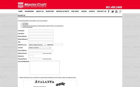 Screenshot of Contact Page utahwatersports.com - Contact Us - captured Oct. 7, 2014