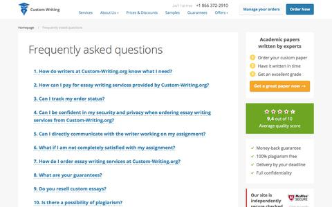 Screenshot of FAQ Page custom-writing.org - Get Answers to Your Questions About Custom Essay Writing - captured Aug. 9, 2017