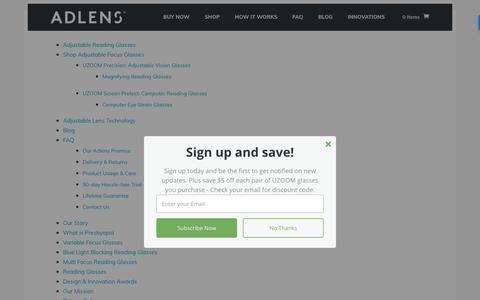 Screenshot of Site Map Page adlens.com - Site Map - Adlens - captured July 29, 2018