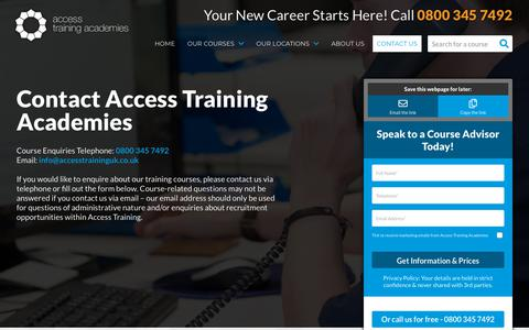 Screenshot of Contact Page accesstraininguk.co.uk - Contact Us | Access Training Academies - captured Aug. 22, 2019