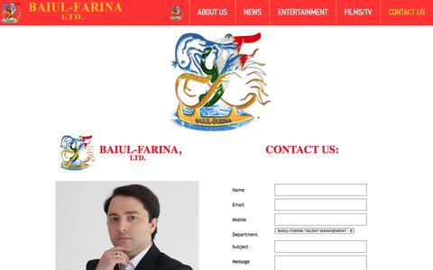 Screenshot of Contact Page baiulfarina.com - contact us - captured Sept. 5, 2017