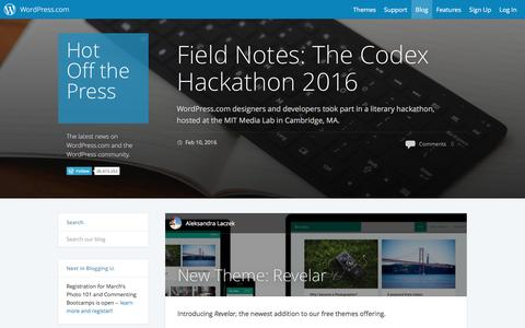 Screenshot of Blog wordpress.com - WordPress.com News - captured Feb. 11, 2016