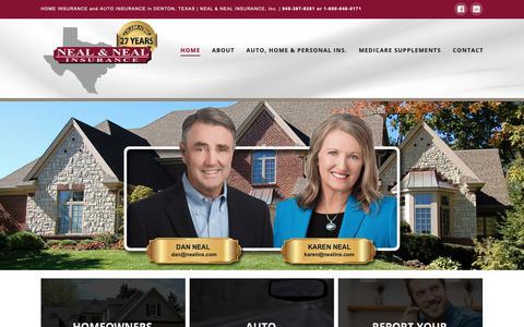Screenshot of Home Page nealins.com - Homeowners Insurance | Denton, Texas | Auto Insurance - captured Oct. 21, 2018