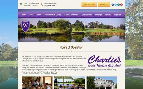 Screenshot of Hours Page windsorgolf.com - Charlie's Restaurant   Windsor Golf Club - Windsor, CA - captured Oct. 7, 2014