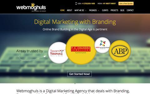 Screenshot of Home Page webmoghuls.com - Digital marketing agency dealing with Branding,Responsive Web Design, Social Media Marketing - captured Oct. 7, 2014