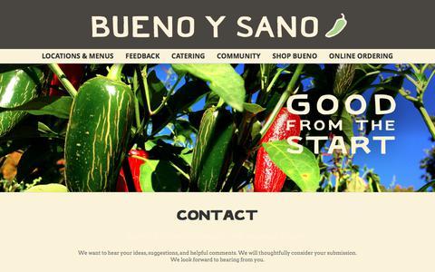 Screenshot of Contact Page buenoysano.com - CONTACT | Mexican Restaurant - captured June 3, 2017