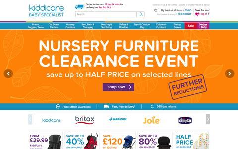 Screenshot of Home Page kiddicare.com - Kiddicare - Pushchairs | Prams | Car Seats | Baby Equipment | Online Baby Shop - captured Oct. 1, 2015