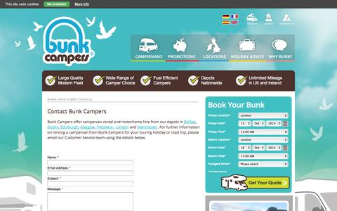 Screenshot of Contact Page bunkcampers.com - Bunk Campers Contact Bunk Campers |  Motorhome Hire Scotland & Ireland - captured Oct. 10, 2014