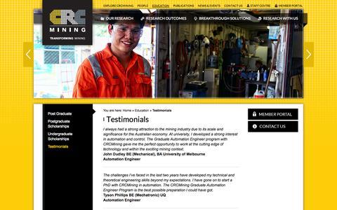 Screenshot of Testimonials Page crcmining.com.au - Testimonials on Education | CRC Mining | CRC Mining - captured Sept. 26, 2014