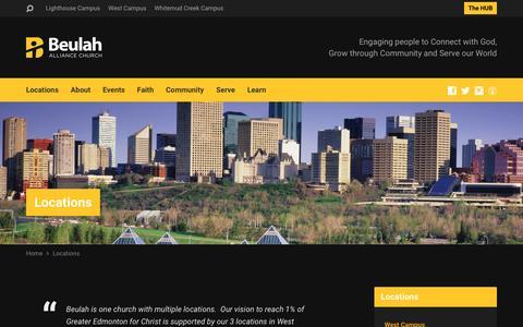 Screenshot of Locations Page beulah.ca - Beulah Alliance Church   Locations   Edmonton, Ab - captured Nov. 22, 2016