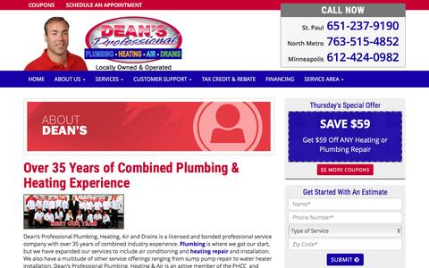 Screenshot of About Page deansplumbing.com - Dean's Professional Plumbing | 612-424-0982 | Maple Grove MN - captured Nov. 24, 2016