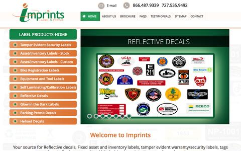 Screenshot of Home Page imprints.com - Fixed Asset Tags, Inventory Tags, Security Stickers & Reflective Labels - imprints - captured Oct. 6, 2014