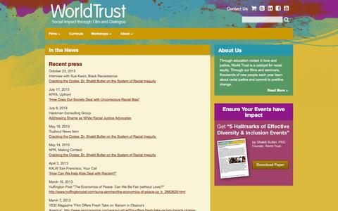 Screenshot of Press Page world-trust.org - In the News - World Trust | World Trust - captured Oct. 7, 2014
