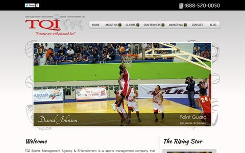 Screenshot of Home Page tqisportsagency.com - TQI Sports Management Agency & Entertainment - captured Oct. 6, 2014